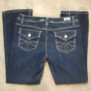 Earl Embroidered Bootcut Jeans Flap Pockets 2P NEW